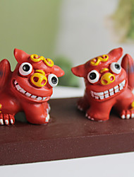 "4 ""Red Shisa Polyresin Collectibles"