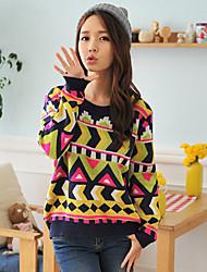 HYS das Mulheres Totem Jacquard Knitting Sweater