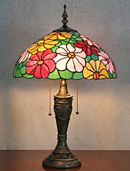 Flower Design Table Lamp, 2 Light, Tiffany Resin Glass Painting