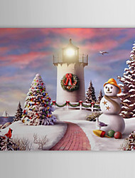 Christmas Holiday Gift Oil Painting Lighthouse in Christmas Ready to Hang