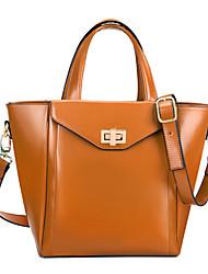 Estilo coreano OL Leather Tote Bag Globalfreemen Mulheres / ombro (Brown)