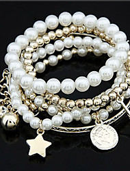 Korea Style Pearl Beads Strand With Coins Iron Tower Charm Bracelet