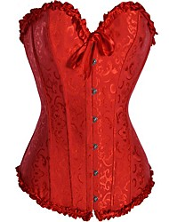 CAOJI Women's Sexy Red Strapless  Corset and T-back