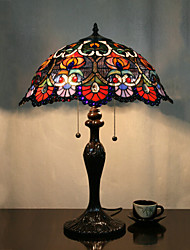 Flower Pattern Table Lamp, 2 Light, Tiffany Zinc Alloy Glass Painting