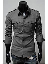Shangdu spalla di modo Camicia Pad design a manica lunga (grigio)