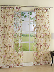 Country Two Panels Floral  Botanical Multi-color Bedroom Polyester Sheer Curtains Shades