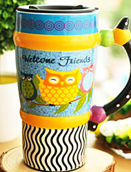 "Cartoon Owl Taza, gres 3 ""* 3"" * 6.5 """