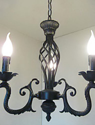 Candle Kronleuchter, 3 Light, Traditionelle Malerei Metallbearbeitung