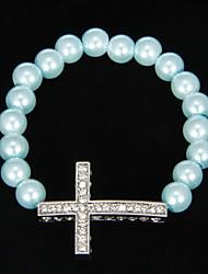 Mode simulater-Pearl extensible avec strass Bracelet Croix
