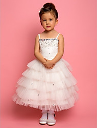 A-line/Ball Gown/Princess Knee-length Flower Girl Dress - Chiffon/Lace/Satin/Tulle Sleeveless