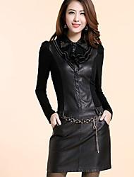Luna Mujeres Domingo Negro Fit Pu Leather Largo Vestido ajustado manga