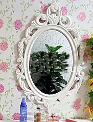"23.75 ""Carving Flor Branca Oval Relógio de parede"