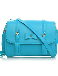 8th PINK Women's Pu Leather Blue Leisure Double Layers Bowknot Shoulder Bag