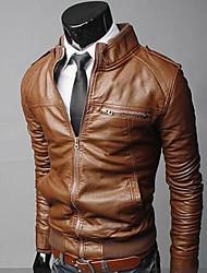 VSKA Men's Pu Leather Stand Collar Coat