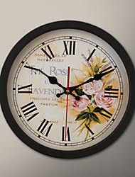 "12 ""H Bouquet Peinture Black Frame Wall Clock"