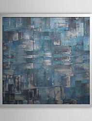 Abstracte Blauwe Kubussen Ingelijst Olieverf