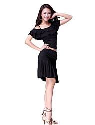Dancewear Crystal Cotton Latin Dance Outfits For Ladies