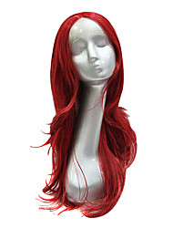 Synthetic Red Medium Long Lace Front Wig
