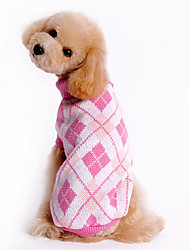 Dog Sweater Blue / White / Pink Dog Clothes Winter Plaid/Check