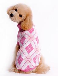 Hunde Pullover Blau / Weiss / Rosa Hundekleidung Winter Plaid/Karomuster