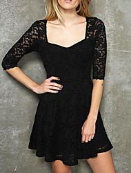 LingerieOcean cuello en V vestido de encaje Negro