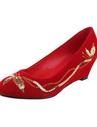 Lace Women's Wedding Wedge Heel Pumps Heels Shoes