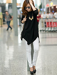 Women's Round Collar Loose Long Sleeve Irregular Jumper Pullover Knitwear