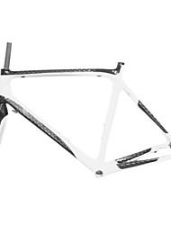 700C Full Carbon Blanco + Negro Camino Bastidor de la bicicleta con el Frente Tenedor