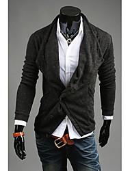 Tricoté cardigan de mode de chandail de DJJM hommes cultivent son conception tas manteau col de la morale (gris foncé)