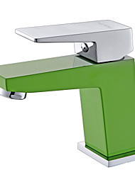 Contemporary Green A Grade ABS Plastice One Hole Single Handle Brass Bathroom Sink Faucet