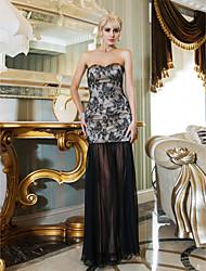 Formal Evening / Military Ball Dress - Black Plus Sizes / Petite Sheath/Column Sweetheart Floor-length Lace / Chiffon