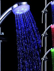 Temperature Controlled LED Light Top Spray Shower Head Bathroom Showerheads with Chrome Coated
