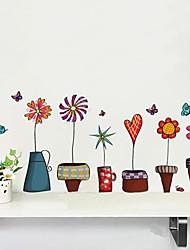 Cute Cartoon Pot Plants Window Stickers