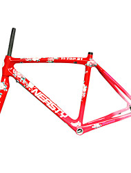 700C Full Carbon Red Road Bicycle Frame with Front Fork