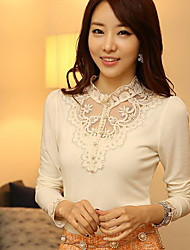 YGR Frauen White Lace Print Ständer Neck Shirts