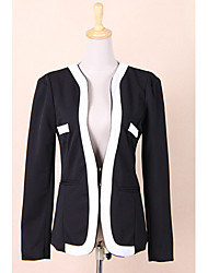 Women's New Fashion Suit Blazer Color Block Slim Coat Pocket Jacket Outerwear