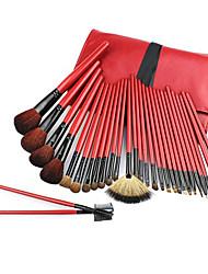 Pro haute qualité 30 PC naturel de cheveux de chèvre Bright Red pinceau de maquillage avec l'unité centrale de poche