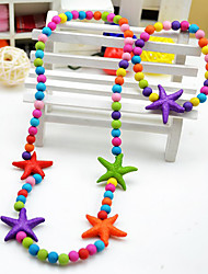 Girl's Cute Starfish Jewelry Set (Necklace&Bracelet)(Random Color)
