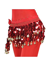 Belly Dance Hip Scarves Women's Training Chiffon Coins Sequins 1 Piece Hip Scarf
