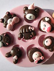 8 trous Tête d'un animal de chocolat de silicone / Fondant / Sucre Mold