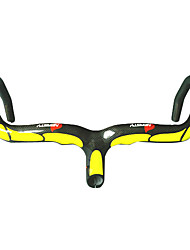 NEASTY - Full Carbon Yellow Road Bike/Bicycle Handlebar with integrated Stem