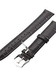 Unisex 18mm Crocodile Grain Leather Watch Band (Zwart)