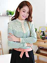 Folli Contrast Color Lace Chiffon Blouse