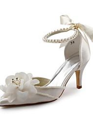Women's Spring Summer Fall D'Orsay & Two-Piece Satin Stretch Satin Wedding Party & Evening Stiletto Heel Flower White Ivory