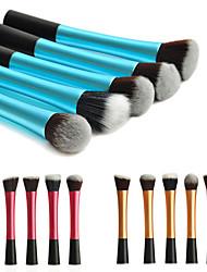 5pcs kleurrijke nylon haren aluminium handvat make-up blusher / foundation / poeder borstel set (assorti kleur)