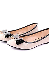 DONGFANGMEIGUI Kontrast-Farben-Diamant-Muster-Bow Dekorative spitze Zehe-flache Schuhe (Almond)
