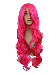 High Quality Synthetic Japanese Kanekalon Capless Synthetic Long Wavy Pink Red Full Bang Hair Wig For Women