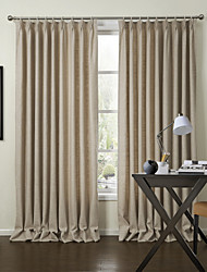 Modern Two Panels Solid Beige Living Room Polyester Panel Curtains Drapes