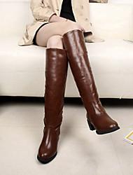 Shanhu simples Grosso bico fino salto Chunky botas altas (Brown)