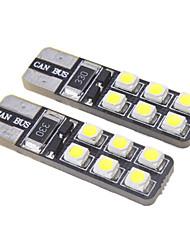 T10 1W 12x3528SMD 15LM 6000-6500K  ampoule LED blanche froide pour la voiture (12V)